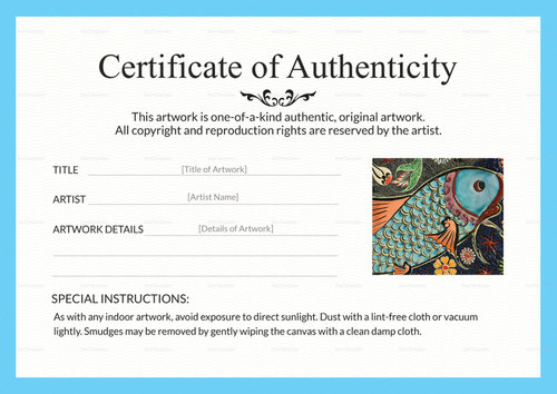 🥰Certificate Of Authenticity Template Sample & Example🥰 in Certificate Of Authenticity Templates