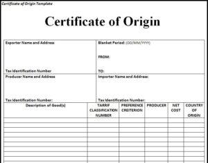 🥰Free Printable Certificate Of Origin Form Template [Pdf in Certificate Of Origin Template Word