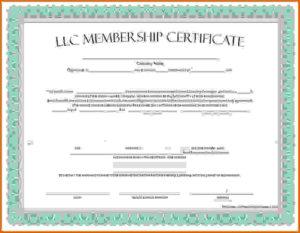 🥰Free Printable Sample Certificate Of Membership Template for Llc Membership Certificate Template