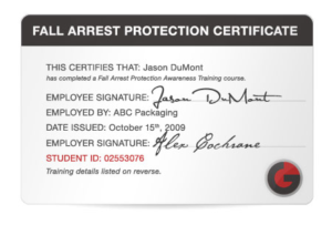 Fall Protection Certification Template (8) – Templates intended for Best Fall Protection Certification Template