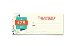 Family Restaurant Gift Certificate Template Design with regard to Gift Certificate Template Indesign
