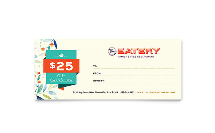 Family Restaurant Gift Certificate Template Design with regard to New Indesign Gift Certificate Template