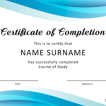 Fantastic Certificate Of Completion Templates Word Inside Training Completion Certificate Template 10 Ideas