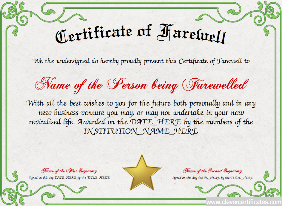Farewell Certificate Designer | Free Certificate Templates throughout Quality Farewell Certificate Template