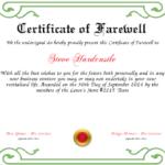 Farewell Certificate Template   Certificate Templates, Best Within Quality Farewell Certificate Template