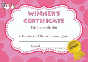 Fashion Baby Prize 10/20 Pack Baby Shower Winners in Baby Shower Winner Certificates