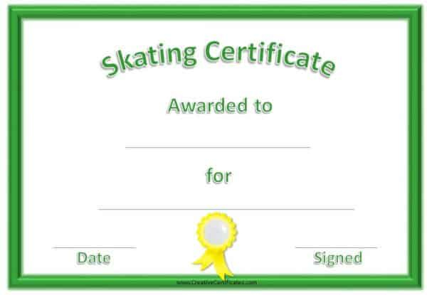 Fee Editable Skating Award Certificate | Instant Download intended for Ice Skating Certificates