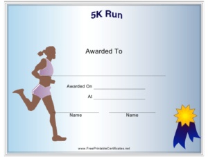 Female 5K Run Certificate Of Participation Template Download inside 5K Race Certificate Templates