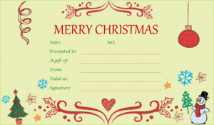 Festive Decorating Christmas Gift Certificate Template pertaining to Christmas Gift Templates Free Typable