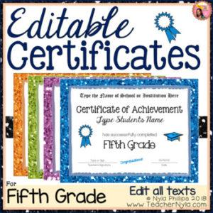 Fifth Grade Editable Graduation Certificates – Glitter Borders for 5Th Grade Graduation Certificate Template