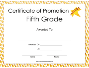 Fifth Grade Promotion Certificate Printable Certificate with 5Th Grade Graduation Certificate Template