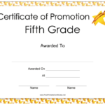 Fifth Grade Promotion Certificate Printable Certificate With Certificate Of Job Promotion Template 7 Ideas