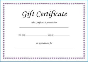 Fillable Gift Certificate Template Free (4) – Templates regarding Unique Fillable Gift Certificate Template Free