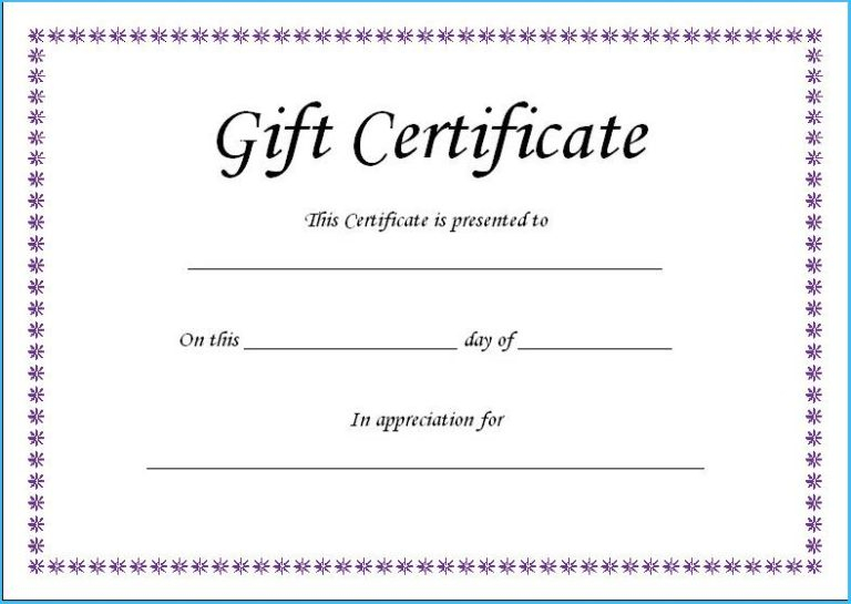 Fillable Gift Certificate Template Free (4) - Templates regarding Unique Fillable Gift Certificate Template Free