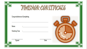Finisher Certificate Template Free 1 In 2020 | Certificate with Finisher Certificate Templates