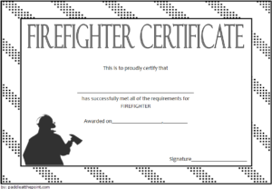 Fire Department Certificate Template Free 1 for Firefighter Certificate Template