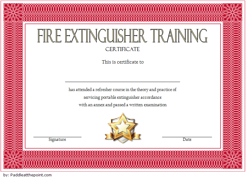 Fire Extinguisher Certificate Template (4) - Templates inside Physical Fitness Certificate Template 7 Ideas