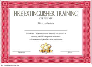 Fire Extinguisher Certificate Template   Fire Extinguisher for Fire Extinguisher Training Certificate Template Free