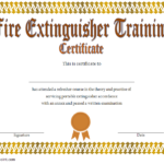 Fire Extinguisher Training Certificate Template Word Free 2 Inside Fresh Fire Extinguisher Training Certificate Template Free