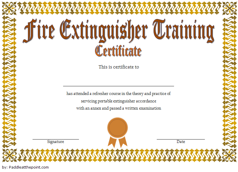 Fire Extinguisher Training Certificate Template Word Free 2 with regard to Unique Fire Extinguisher Training Certificate