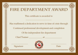 Fire Safety Certificate: 10+ Safety Certificate Templates intended for Best Firefighter Training Certificate Template