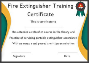 Fire Safety Certificate: 10+ Safety Certificate Templates intended for Fire Extinguisher Training Certificate Template Free