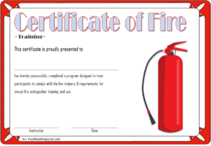Fire Safety Training Certificate Template Free 3   Fire for Fire Extinguisher Certificate Template