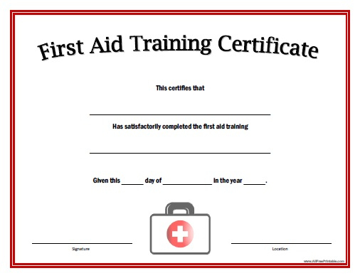 First Aid Training Certificate – Free Printable Within Best First Aid Certificate Template Free