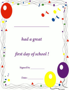 First Day Of School Certificate, Free Printable Back To for Fresh First Day Of School Certificate Templates Free