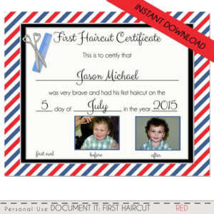 First Haircut Certificate, Baby First Haircut Photo Certificate, Barber  Shop Certificate, Diy, Pdf & Corjl Instant Download 8X10 throughout First Haircut Certificate