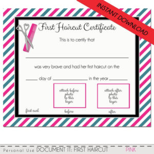 First Haircut Certificate, Baby Girl First Haircut Photo Certificate,  Instant Download, Pdf, Diy, Corjl, 8 X 10 throughout First Haircut Certificate