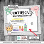 First Haircut Certificate | Sign | Print | Girl | Salon | My First Haircut  | Blow Dryer | Scissors | Nail Polish | 8X10 | Instant Download With New First Haircut Certificate Printable Free 9 Designs