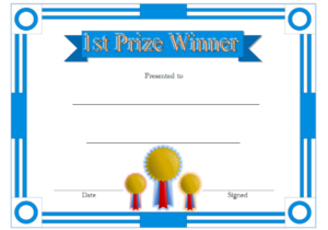 First Prize Winner Certificate Template Free | Certificate pertaining to Quality First Place Award Certificate Template