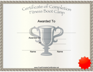 Fitness Boot Camp Printable Certificate throughout Fresh Boot Camp Certificate Template