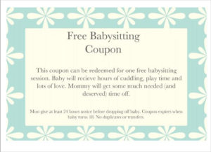 Floral Baby Sitting Coupon Template Download   Babysitting pertaining to Best 7 Babysitting Gift Certificate Template Ideas