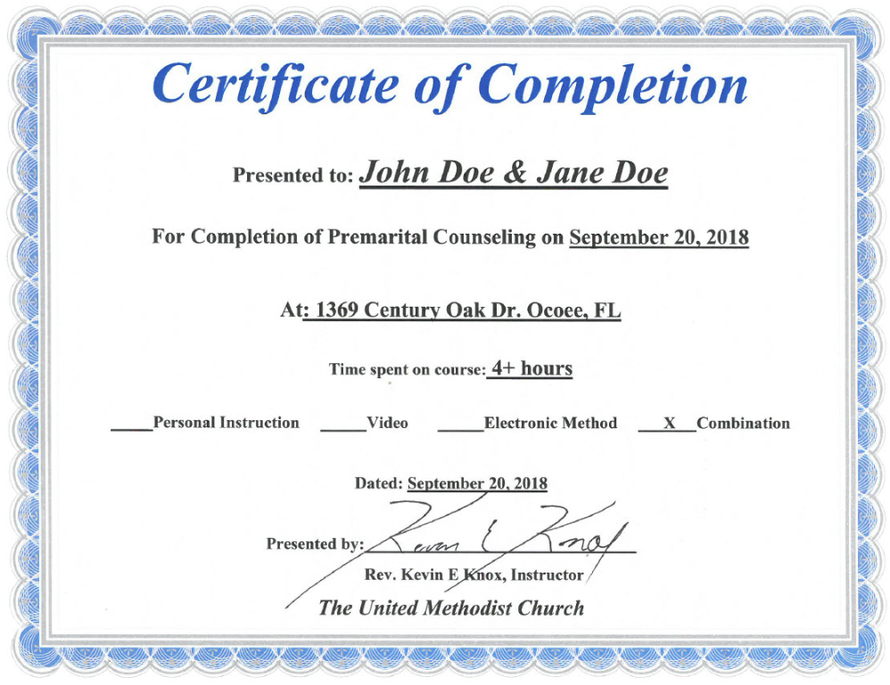 Florida Premarital Course Online, Licensed Provider – Only Intended For Marriage Counseling Certificate Template