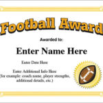 Football Award Certificate Template – Recognition With Youth Football Certificate Templates
