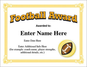Football Award Certificate Template – Recognition with Youth Football Certificate Templates