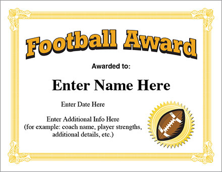 Football Award Certificate Template - Recognition with Youth Football Certificate Templates