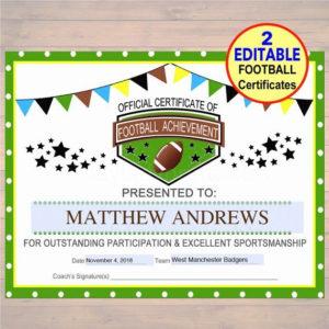 Football Award Certificate Template Unique Editable Football regarding Soccer Certificate Template Free 21 Ideas