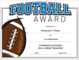 Football Certificate Template Word | Certificate Templates for Best Football Certificate Template