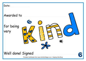 For Being Kind Award Certificate   Award Certificates, Kids within Kindness Certificate Template Free