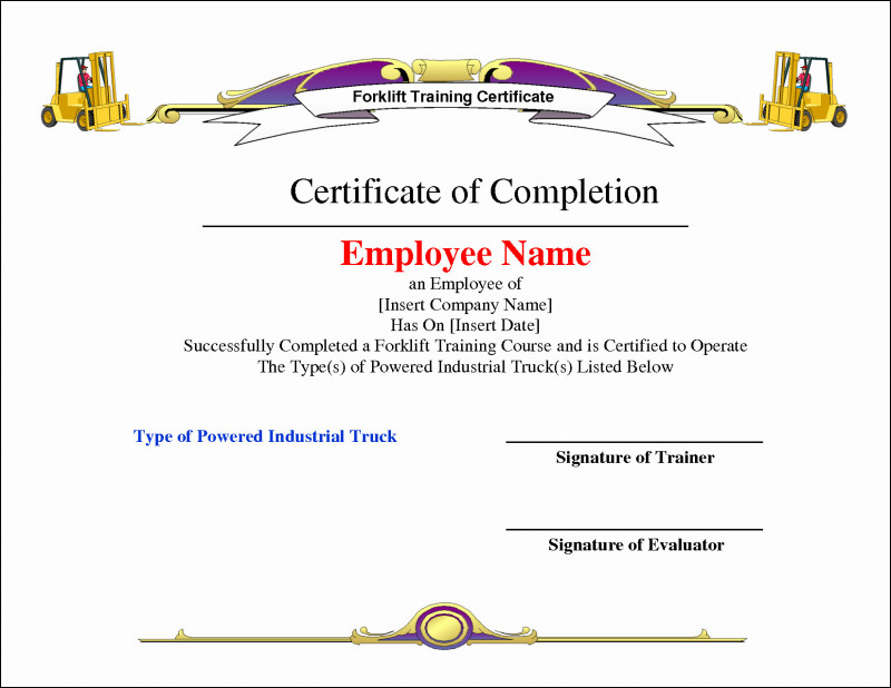 Forklift Certification Template Awesome Certificate Stock In Forklift Certification Template