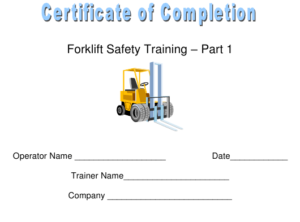 Forklift Safety Training Certificate Of Completion Template intended for Forklift Certification Template