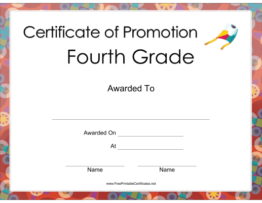 Fourth Grade Promotion Certificate Printable Certificate throughout Grade Promotion Certificate Template Printable