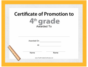Fourth Grade Promotion Certificate Template Download with regard to Grade Promotion Certificate Template Printable