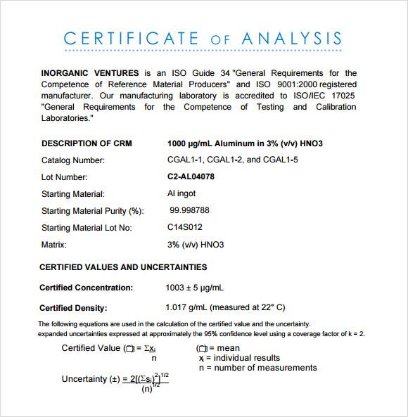 Free 11+ Sample Certificate Of Analysis Templates In Google with Unique Certificate Of Analysis Template