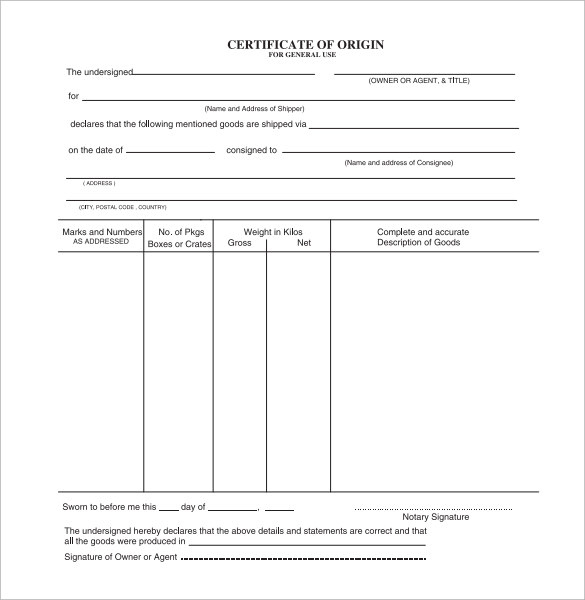 Free 15+ Sample Certificate Of Origin Templates In Pdf | Ms Word pertaining to Quality Certificate Of Origin Template Word