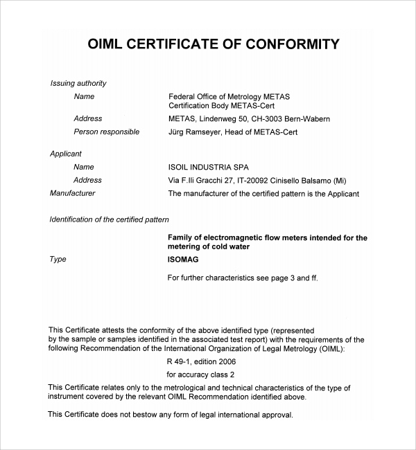 Free 15+ Sample Conformity Certificate Templates In Pdf | Ms within Certificate Of Conformity Template