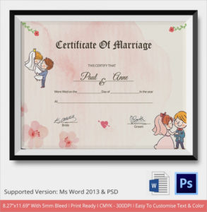 Free 16+ Marriage Certificate Templates In Word | Psd within Quality Marriage Certificate Template Word 10 Designs